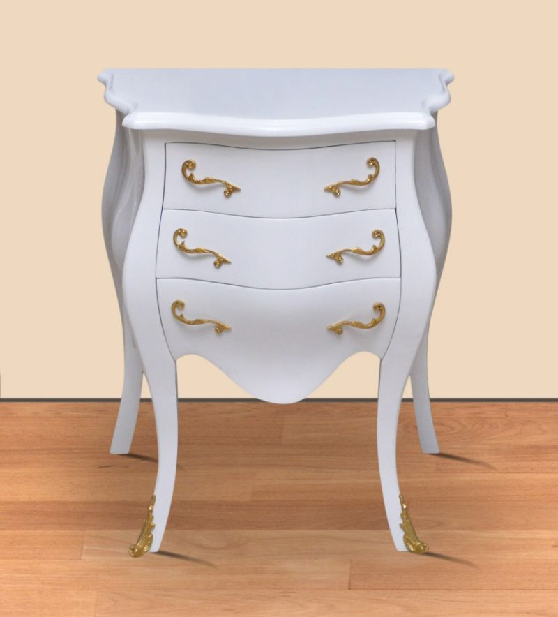 Barok commode wit 60cm goud beslag