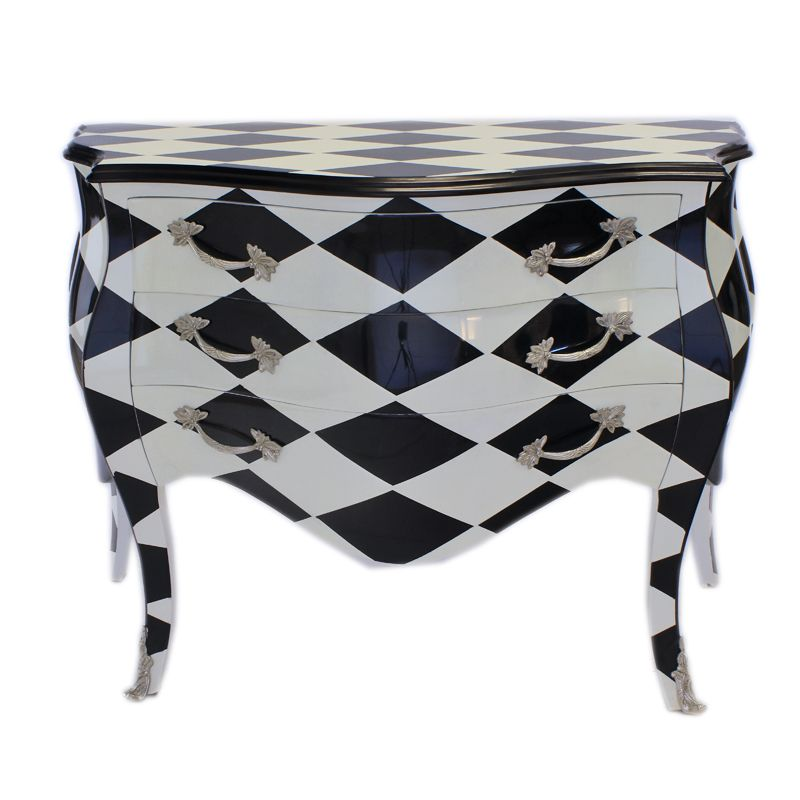 Barok Commode zwart-wit ruit