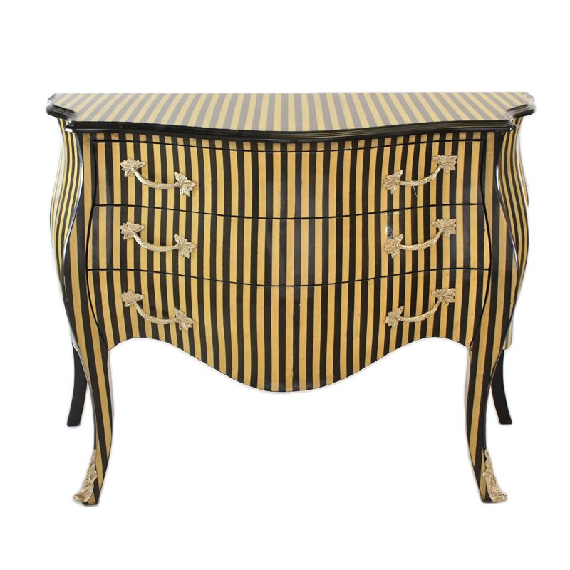 Barok commode 120cm noten streep